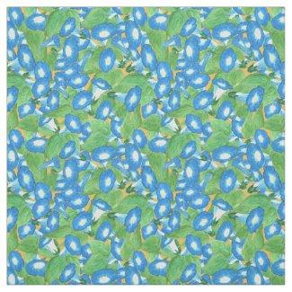 Custom Blue Morning Glory Pattern on Golden Yellow Fabric