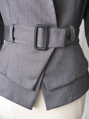 Jacket front belt closeup
