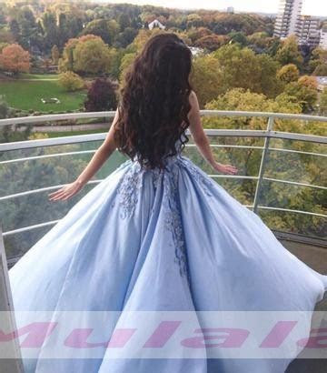 Light Sky Blue Ball Gown Quinceanera Dress 3 D Flowers