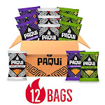 Paqui Spicy Hot Tortilla Chips Variety Pack, 12Pk Box Of 2.0oz Snack Size Bags, Haunted Ghost Pepper, Fiery Chile Limon,