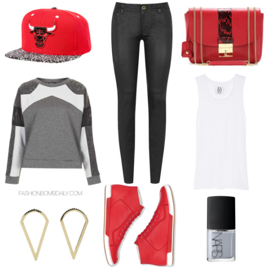 What to Wear to an NBA Game Topshop Premium Mixed Texture Sweatshirt Dior High Top Sneakers Marc by Marc Jacobs Mini Polly Shoulder Bag