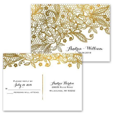 Gold Lace Invitation with Free Response Postcard   Ann's