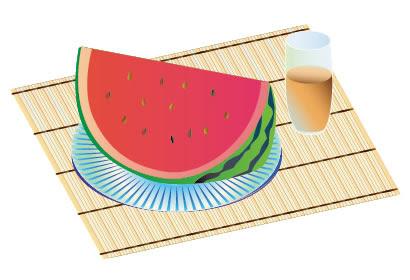 スイカ麦茶のイラストaieps ベクタークラブイラストレーター素材が