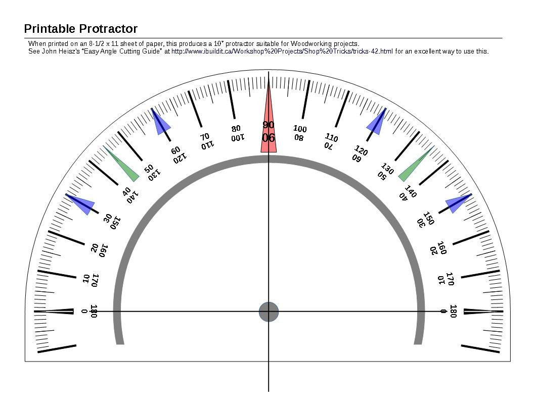 Printable Protractor » linear concepts