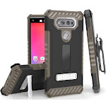 BROWN TRI-SHIELD RUGGED CASE COVER with MAGNETIC KICKSTAND + BELT CLIP HOLSTER + LANYARD STRAP FOR LG V20 PHONE