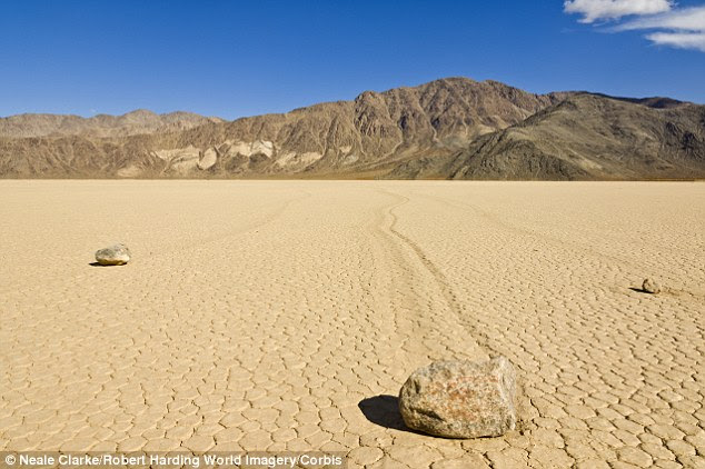 The dried lake bed of the Racetrack Playa greats the perfect conditions to allow the stones to 'sail'