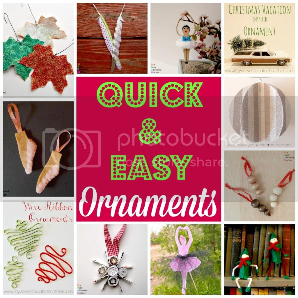 Quick and Easy Ornaments via @mvemother