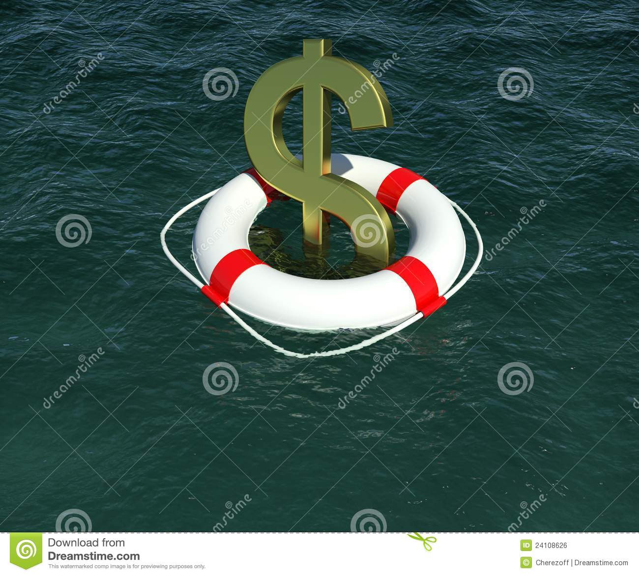 Dollar sign in a lifebuoy in the water. (Credit: 3d rendering © Cherezoff | Dreamstime.com)