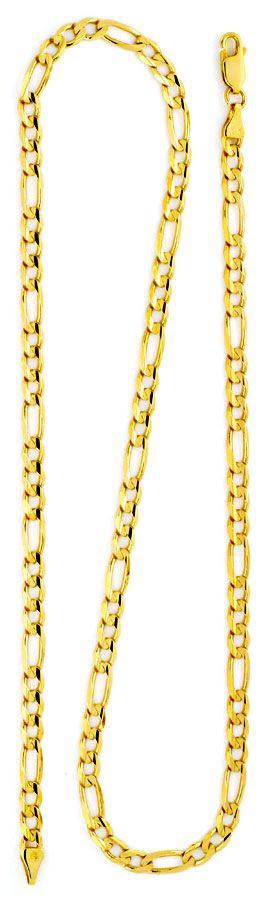 Foto 3, Massive Figaro-Flachpanzergoldkette Gelbgold 14K Luxus!, K2153