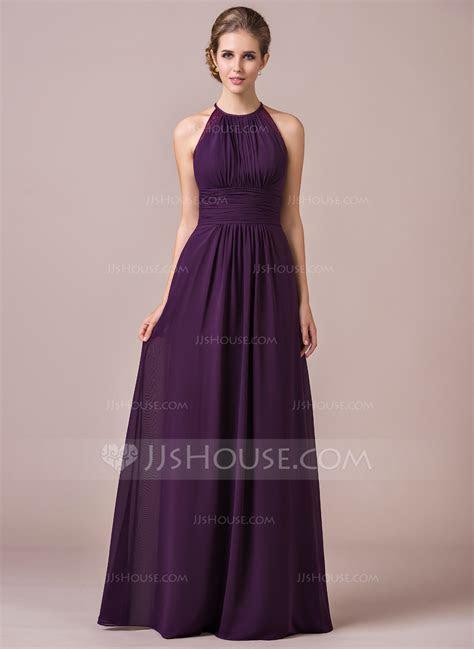 A Line/Princess Halter Floor Length Chiffon Bridesmaid