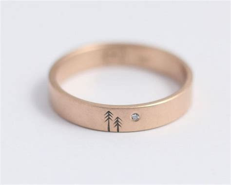 Pine and Moon Wedding Band   minimal//   Jewelry