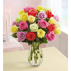 Two Dozen Assorted Roses with Clear Vase