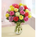 Flower Delivery by 1-800 Flowers Two Dozen Assorted Roses with Clear Vase