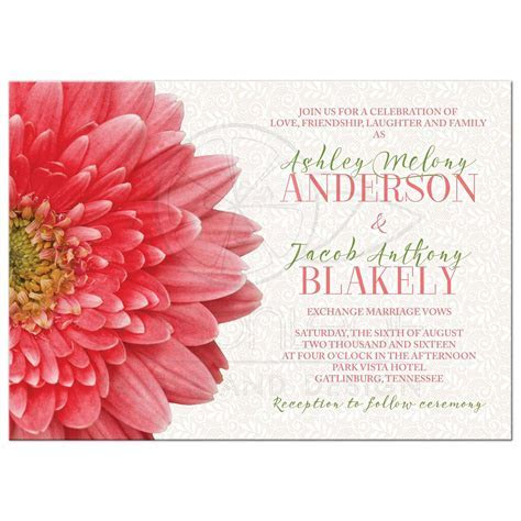 Coral Green Gerbera Daisy Lace Wedding Invitation