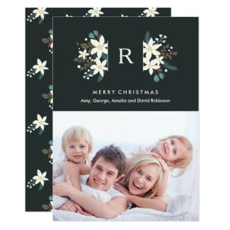 Floral Monogram Photo Merry Christmas Card