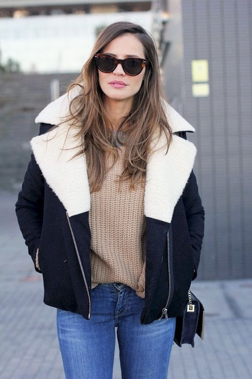 Le Fashion Blog Blogger Style Shearling Coat Camel Knit Sweater Light Wash Skinny Jeans Via Lady Addict