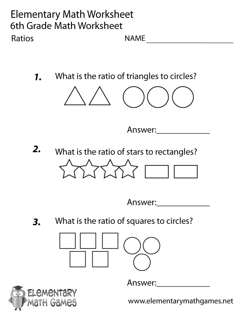 6th grade ratios worksheet printable