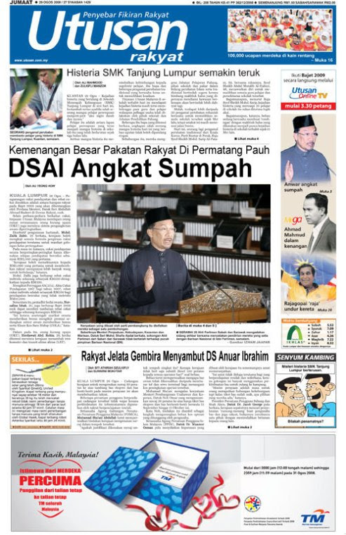 utusan malaysia versi PR [tajuk hari  ini]