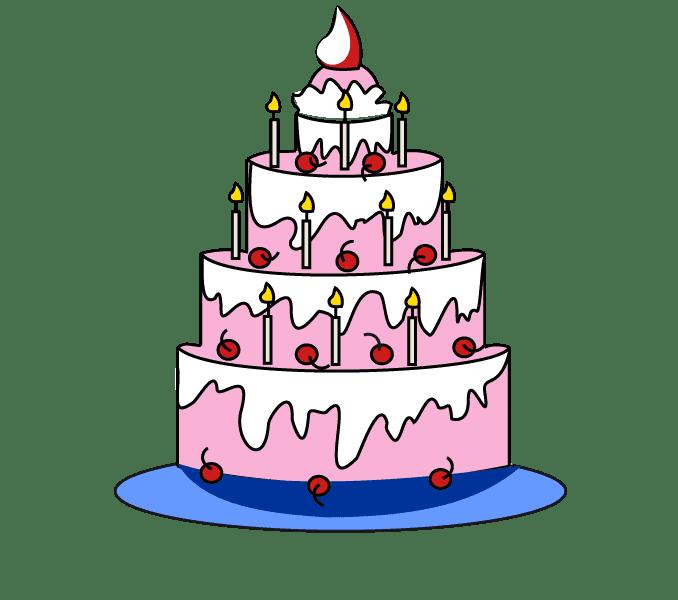 Easy Birthday Drawing Cake Happy