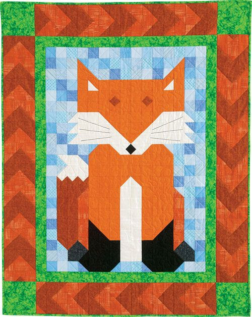 "Quiltmaker's Patch Pals Collection includes Sly Patch, a crafty fox who weighs in at 40"" x 50"". Dig into your scraps or get the convenient kit. Find the pattern in QM's July/August '14 issue."