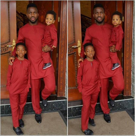 Joseph Yobo And His Kids Dazzle In Matching Outfits