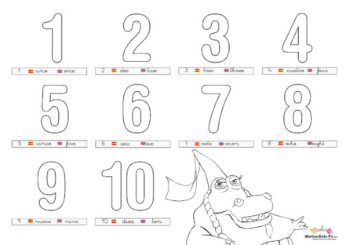Dibujos para colorear y aprender los números en inglés y español