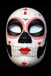 Deluxe Plastic Masks Day Of The Dead With Hearts