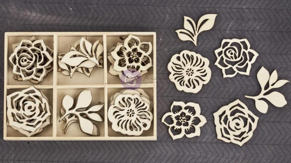 Prima Wood Embellishments - Garden Flowers