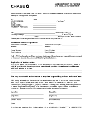 chase authorization form Fill Online, Printable, Fillable, Blank ...
