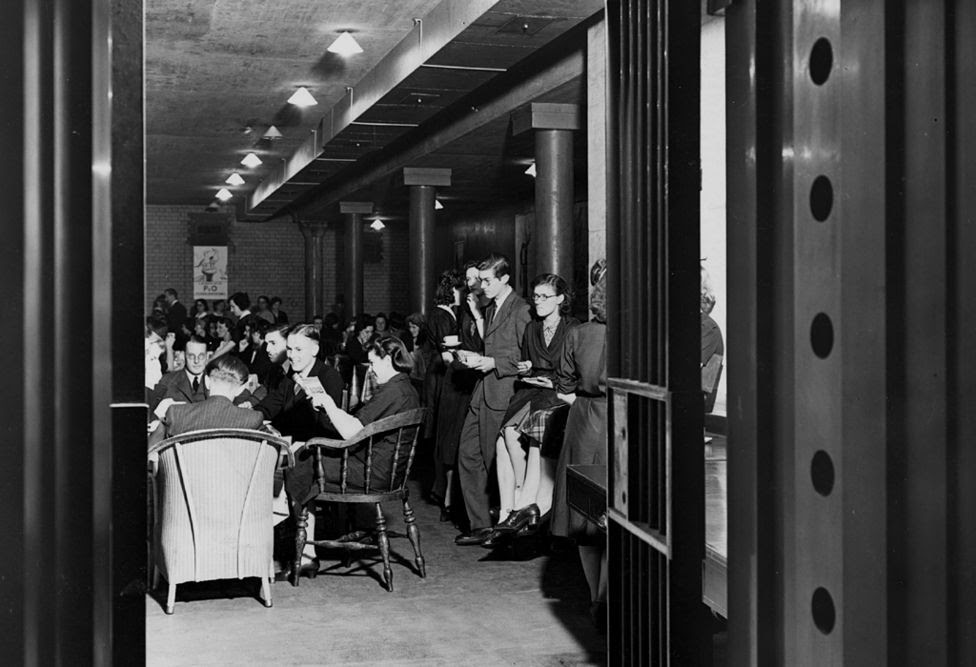 Bullion vault in use as staff canteen at the Bank of England, during WW2