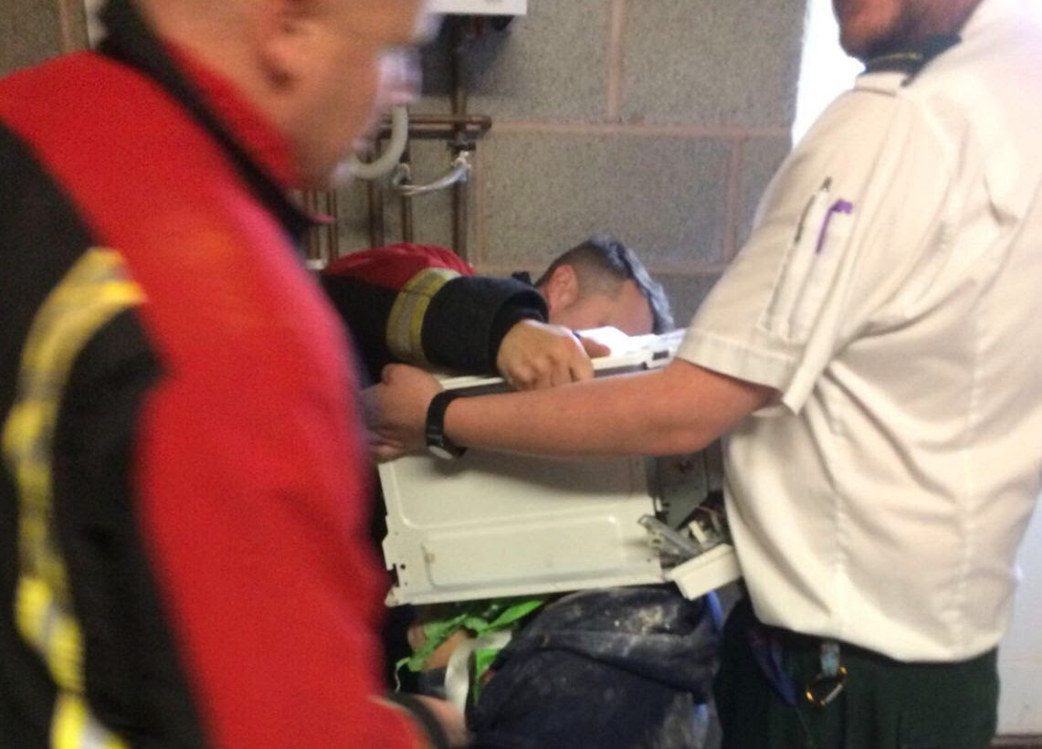 <strong>The as-yet-unnamed 22-year-old was rescued by members of the West Midlands FireService</strong>