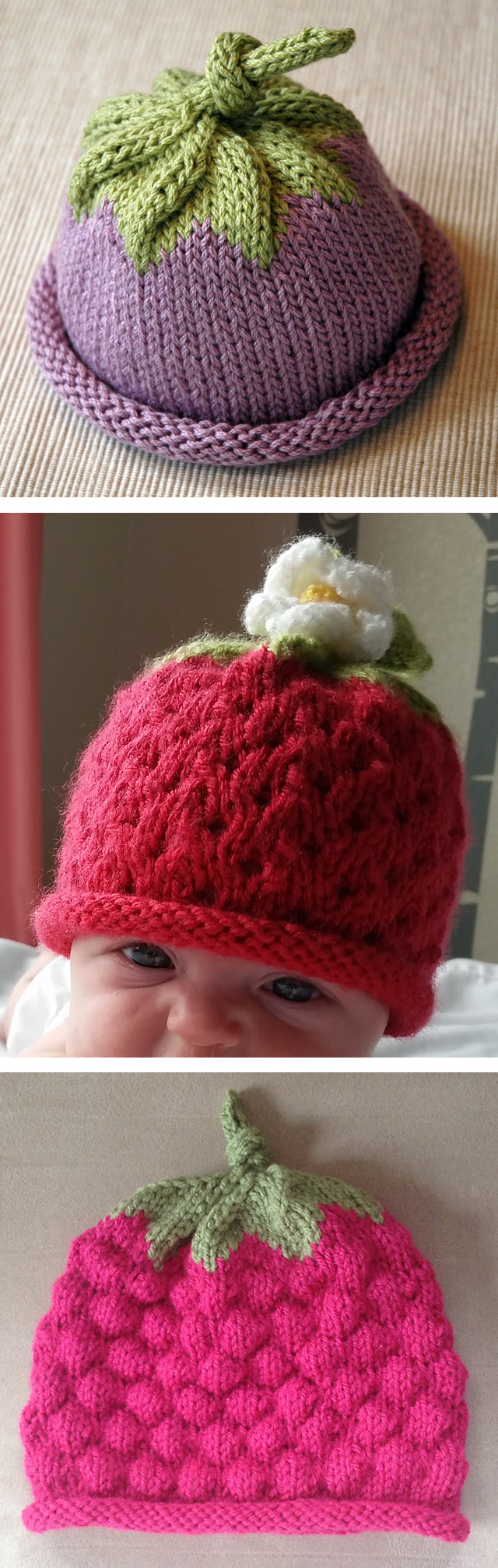 Free Knitting Pattern for Berry Baby Hat