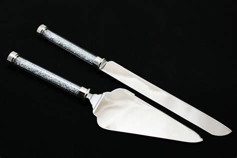 Wedding Knife and Cake Server Set with Diamond Filled