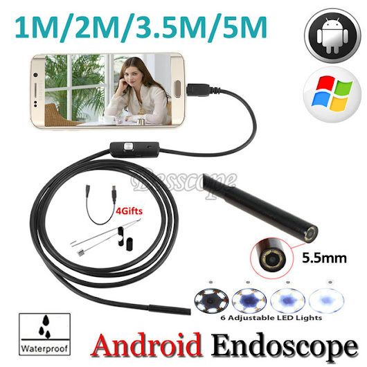 High Quality 5.5mm Len 5M Android OTG USB Endoscope Camera Flexible Snake USB Pipe Inspection Android Phone USB Borescope Camera - free shipping worldwide