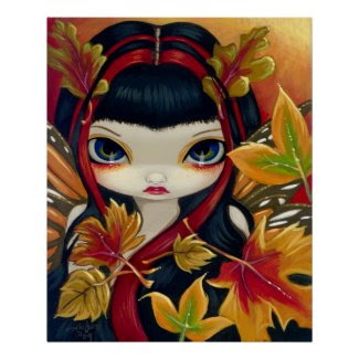 Little Autumn Leaves ART PRINT fall fairy print