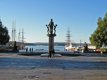 Monument at the Harbor in Oslo Norway