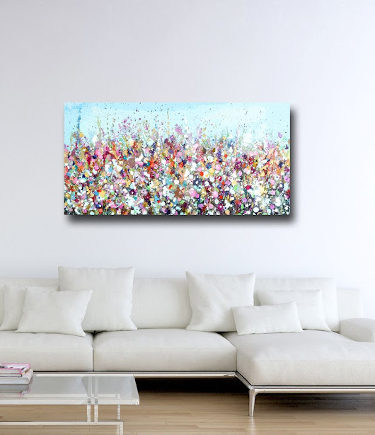Large Panoramic Canvas Art, Floral Wall Art, Pink and Blue Abstract Meadow Print, Giclee Print, Print from Painting, Large Canvas Flower Art