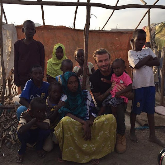 David Beckham — One of the families I met in the refugee camp in...