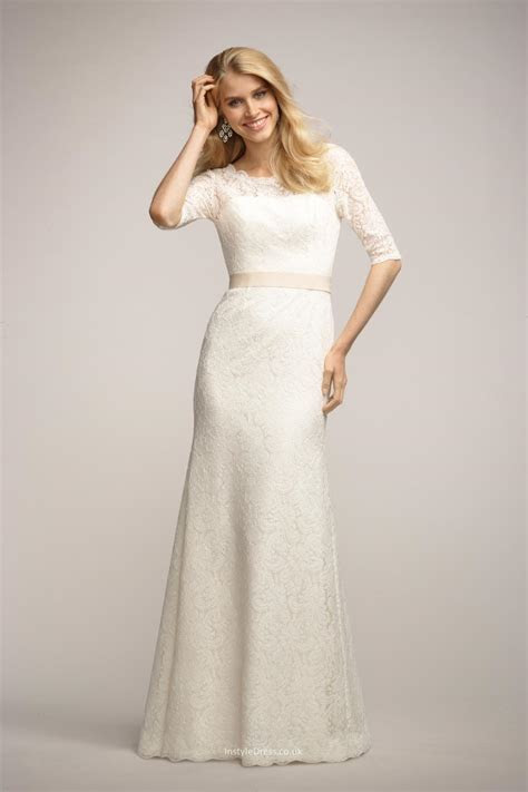 Ivory Lace Long Bridesmaid Dress With Sleeves