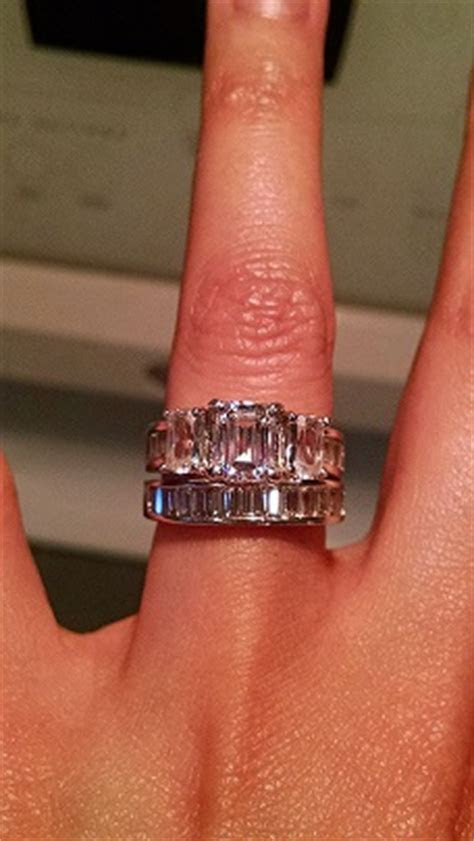 my emerald cut engagement ring and wedding band