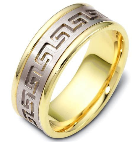 47528E Greek Key Carved Wedding Ring