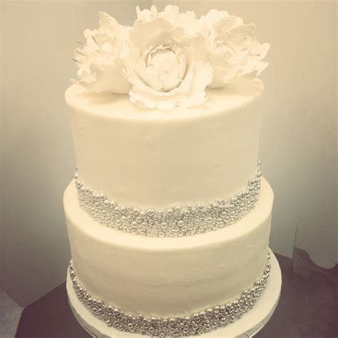 2 Tier White #wedding #cake with #silver bead accents and