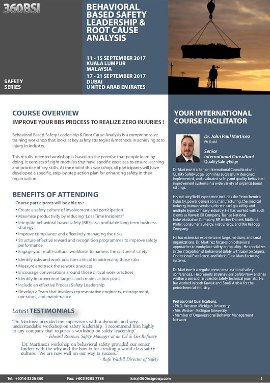 Behavioral Based Safety Leadership & Root Cause Analysis, 11-15 Sept …