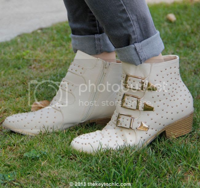 Charlotte Russe ivory white studded triple buckle ankle bootie