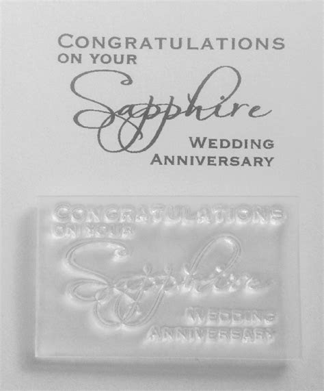 Congratulations on your Sapphire anniversary stamp