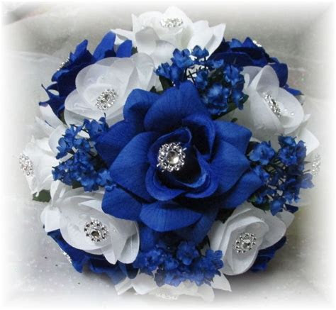 2 Pc BOUQUETS Bridesmaid/Maid of Honor/Toss Royal Blue