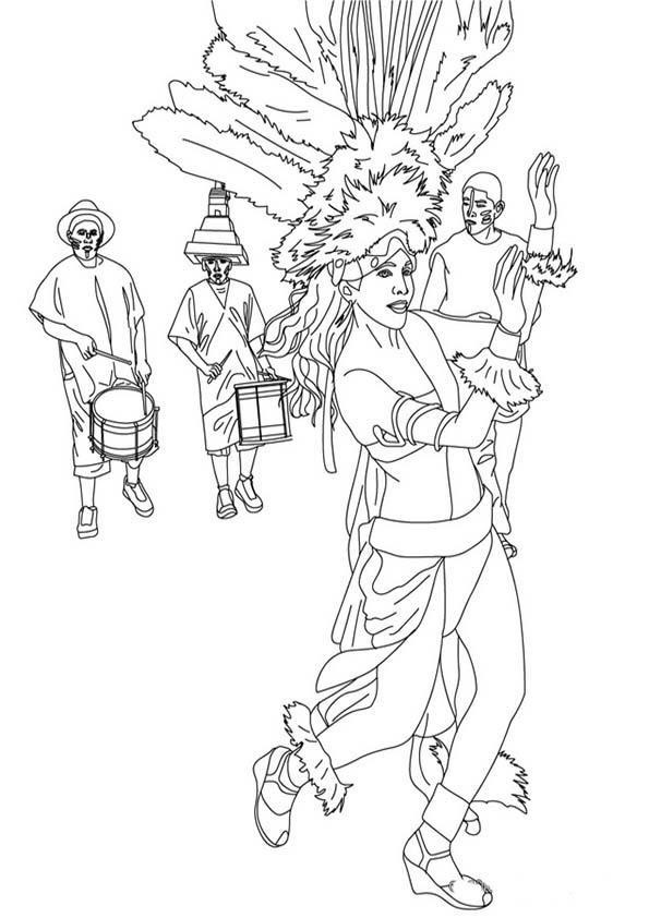 Disfrazados De Indios Para Colorear En Carnaval Dibujos Para