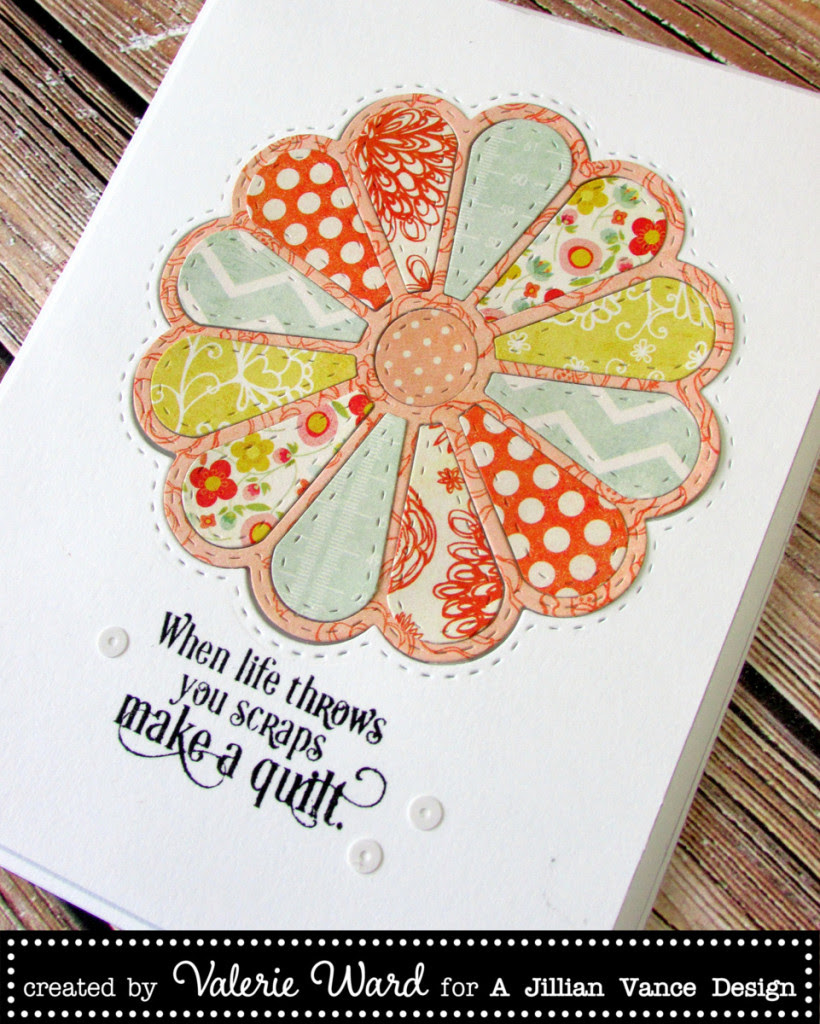 Jillian Vance Design die & stamp & sequins, My Mind's Eye paper {ValByDesign, 2015}