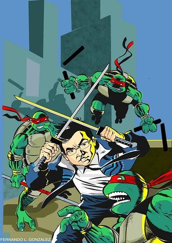 """Tortugas ninja y Hiro"" by Fernando León González ..(( Hiro from ""HEROES"" )) [[ Upcoming artist for Ryan Brown's ""Wild West C.O.W.-Boys of Moo Mesa"" comic book miniseries written by Tristan Jones ]]"