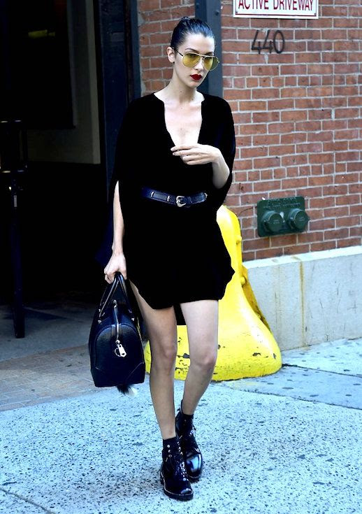 Le Fashion Blog Bella Hadid All Black Summer Look Dress Belt Chunky Boots Via Popsugar